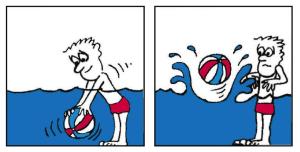 bal onder water drukken